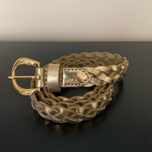 Lauren by Ralph Lauren metallic gold braided belt